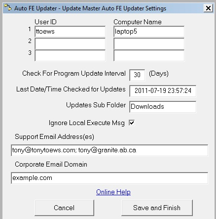 Auto FE Updater Master Settings