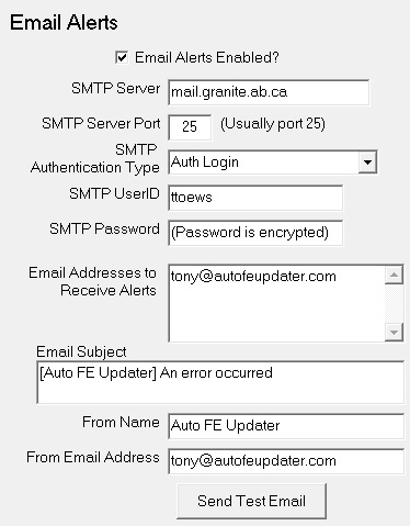 Settings - Enterprise Edition - Email Alerts