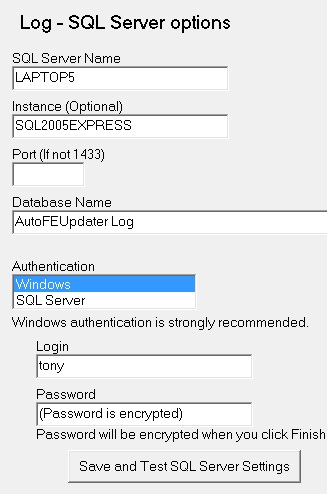 Log - SQL Server Options