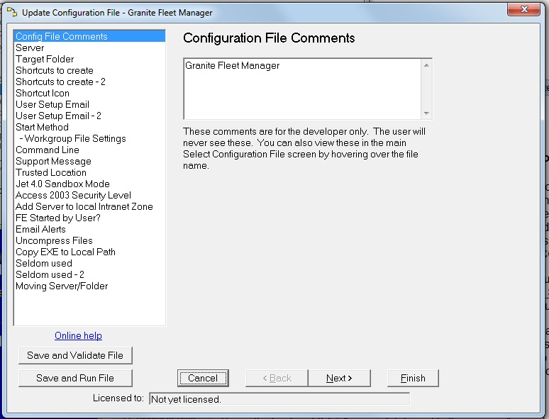 Settings - Config File Comments